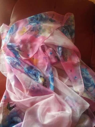 羚羊早安  春夏百搭海滩巾丝巾长款女士雪纺沙滩巾围巾披肩两用 sj607-淡蓝 晒单图