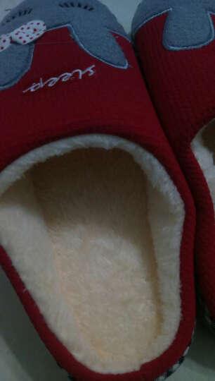 惠夫人棉拖鞋半包跟厚底秋冬季男女居家拖鞋室内情侣家居地板可爱保暖鞋防滑 笑笑兔大红 38/39码  适合37-38码穿 晒单图