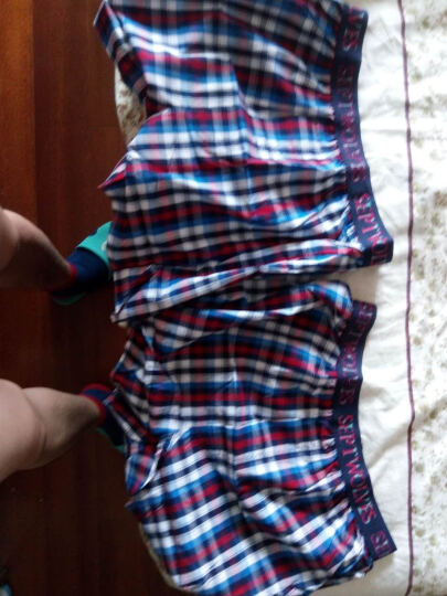 七匹狼纯棉沙滩裤短裤 男阿罗裤格子运动短裤 格子红 XL 晒单图