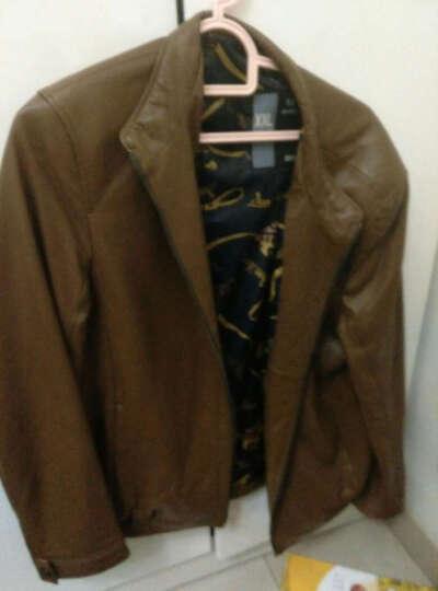 男士真皮皮衣男 皮夹克新款头层绵羊皮立领修身单皮衣真皮夹克外套 1881 黑色 3XL 晒单图
