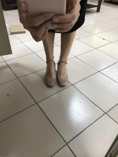 青裳溪蓝 2018春季新款单鞋女头层羊皮粗跟浅口女鞋中跟方头玛丽珍鞋大码女鞋子 藕粉色 36 晒单图