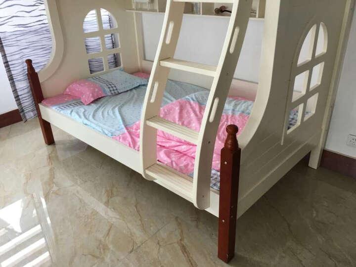 亲友 床 儿童床实木高低床地中海小美式子母床 儿童男孩女孩上下铺床双层床 高低床+挂梯+书架 1200*2000 晒单图