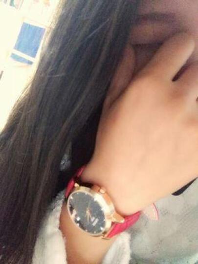 宾派(BinPai)手表女士真皮带璀璨星际钢带女表 简约女式腕表  送女友时尚防水石英表 皮带款-紫色 晒单图