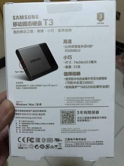 三星(SAMSUNG) T3系列 1TB 移动固态硬盘(MU-PT1T0B/CN) 晒单图