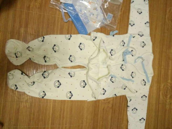 【送肚兜+围嘴+防抓手套】新生儿内衣套装五件套宝宝纯棉打底服刚出生婴儿内衣猴宝宝衣服0-3 小猴款蓝色 59码 晒单图