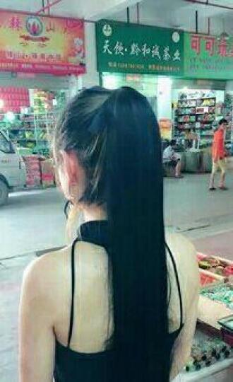 WTB 假发马尾 绑带式双马尾辫  女短卷黑色长直发片  真发接发片假马尾 40cm深棕色 晒单图