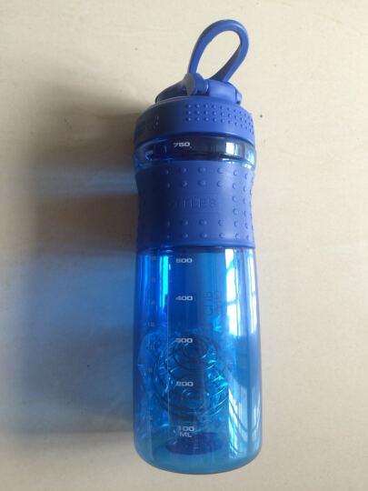 龙仕翔 防 蛋白粉摇摇杯漏塑料杯奶昔杯酵素杯健身运动水杯带刻度搅拌摇杯大容量旅行水杯 蓝色750ml 一个装 晒单图