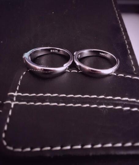 拾爱 925银情侣戒指 真爱对戒活口一对价银饰品 男女戒子心形指环免费刻字 送女友老婆生日 真爱款开口一对价 可调节大小 晒单图
