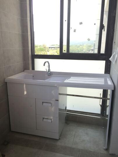格雷诺 不锈钢滚筒洗衣机柜带搓板阳台洗衣机柜石英石洗衣池盆浴室柜组合 银色柜/1.2米左白盆 晒单图