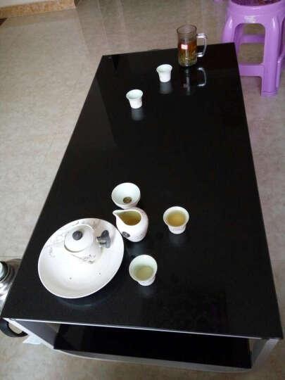 凡积茶几桌子玻璃钢化 双层烤漆茶几 钢茶几 小户型创意方形边几客厅现代简约茶几 时尚小茶几 单层100*50黑架+白面 晒单图