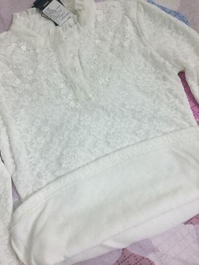 香芙曼加绒加厚长袖t恤2018秋冬新款女装花边高领蕾丝打底衫女50232 白色不加绒 XL 晒单图