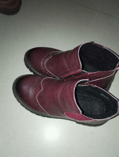 校园猫童鞋 男童靴子女童雪地靴儿童马丁靴冬季新款短靴学生冬鞋加棉防滑棉鞋加厚 酒红色 29码内长18.5CM 晒单图