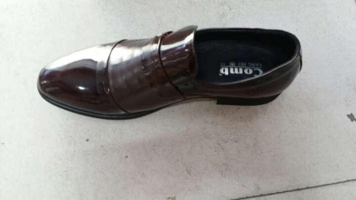 康贝新款皮鞋男商务正装鞋头层皮英伦隐形内增高6cm厘米休闲皮鞋男鞋透气 黑色89919 42 晒单图