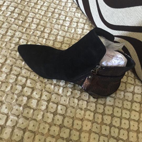 克特蕾大码短靴子女靴欧洲站2019秋冬新款低跟尖头内增高裸靴切尔西靴潮 黑色单里 39 晒单图