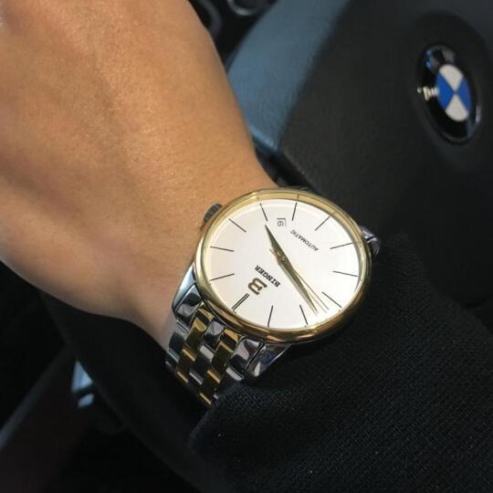 宾格BINGER手表新款全自动机械表镂空男表男士手表J751简约时尚欧美绅士防水皮带腕表 黑皮间金黑面机械表 晒单图