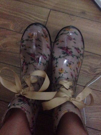 女式花色中筒雨靴雨鞋PVC水靴系带短筒水鞋胶鞋套鞋马丁雨靴 小草花 35号 晒单图
