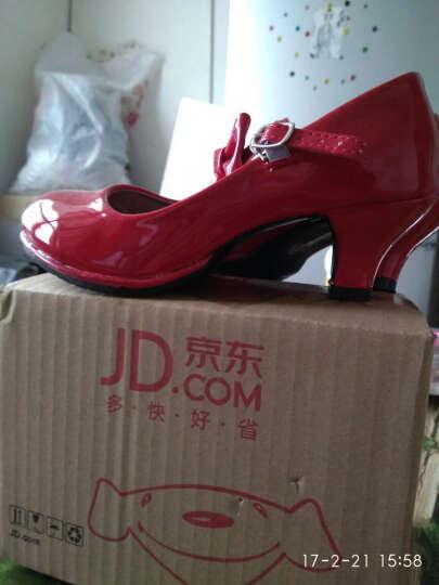 依耐丝童鞋女童皮鞋2017新款韩版蝴蝶结儿童单鞋大童小高跟公主鞋A70b012 红色 35码 晒单图