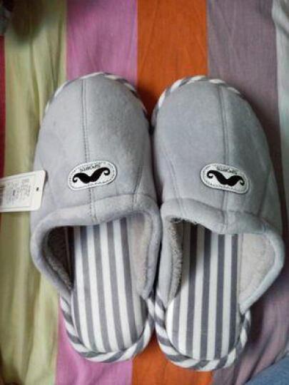 安俊 (三件九折)韩式包跟情侣棉拖鞋  冬天室内保暖可爱毛绒男女月子保暖棉鞋 耳朵黑色 女270适合39/40 晒单图