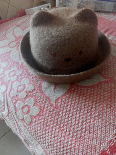 春夏儿童草帽秋男女宝宝帽子婴儿帽子韩国韩版遮阳套头帽棉帽 羊毛浅咖啡 晒单图