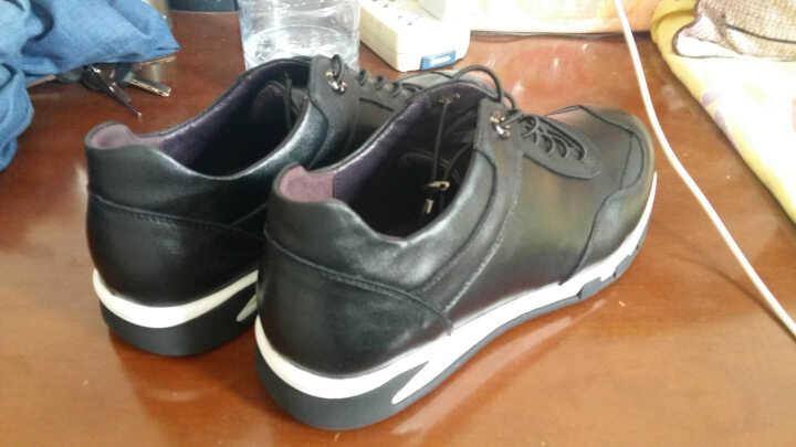 老船长休闲鞋男鞋新款时尚英伦休闲皮鞋头层牛皮鞋子男 黑色 40 晒单图