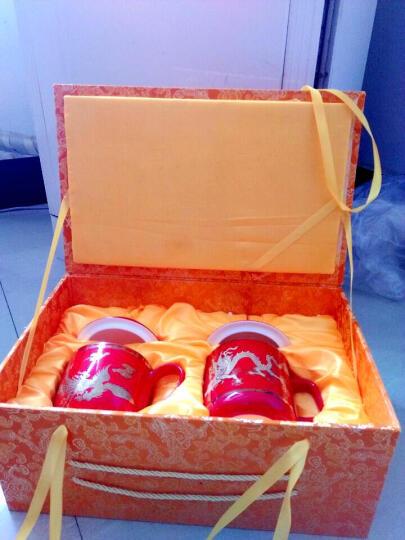 锦唐窑 茶杯陶瓷 中国红瓷龙凤情侣对杯 新婚礼物实用送女友送男友婚庆回赠礼品送新人送闺蜜 黄瓷龙凤老板杯对杯 晒单图