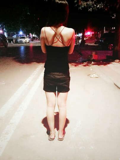 (爱茵朵)黑色工字背心漏背薄款女士吊带背心女夏(打底背心V领) 后背v字 白色(大码) 晒单图
