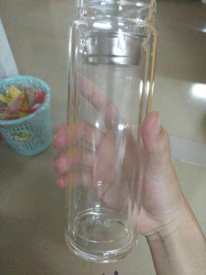 然也(RAE)400ml加厚带茶隔防漏双层高硼硅耐热玻璃杯 男女水杯茶杯 大容量过滤 泡茶情侣水晶杯子 黑色R9331 晒单图