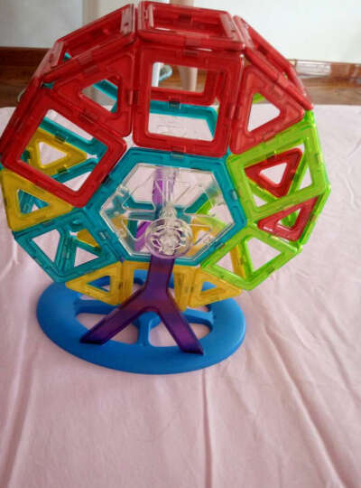 铭塔(MING TA)130件套磁力片 百变提拉建构片儿童积木玩具塑料哒哒搭磁性智力魔磁铁棒 雪橇系列收纳盒装 晒单图