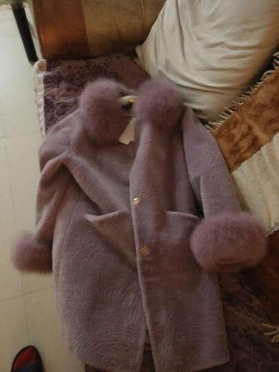 欧偲麦 皮草女外套秋冬季保暖中长款羊羔毛拼色大衣羊剪绒皮毛一体女装 2139 黑白 2XL 晒单图