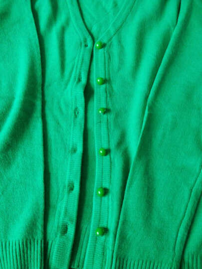 凯姝美 针织衫开衫女新款2018春秋装毛衣外套短款女装韩版修身毛衫 绿色 均码 晒单图