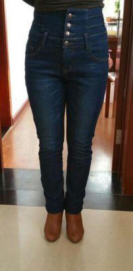 爱维思加绒牛仔裤女2018秋冬装加绒裤女高腰显瘦铅笔裤小脚裤 123浅蓝色加绒 31码 晒单图
