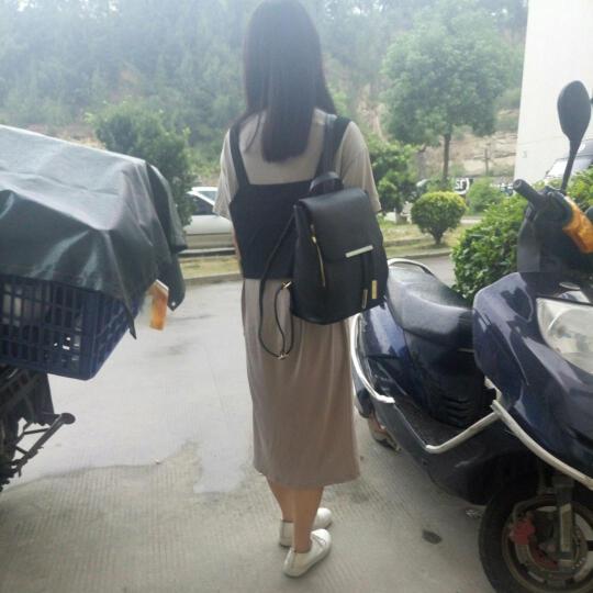 雪梨莱2018春季新款韩版女士双肩包 女包时尚背包休闲书包旅行学院风潮包包 黑色24*30*16 晒单图