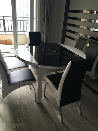 俏客 圆形餐桌餐椅套装 伸缩折叠餐桌多功能餐桌椅组合简约钢化玻璃餐桌小户型实木餐桌6人座 (1.35米)黑白色桌面(不含电磁炉) 一桌六椅 晒单图