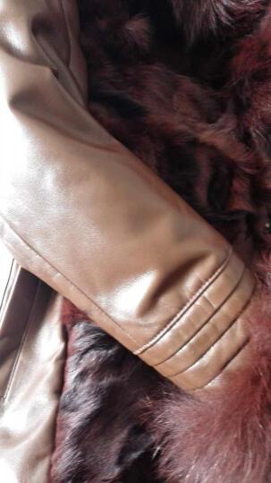狄派斯新款皮毛一体女装狐狸毛皮草女外套海宁真皮羽绒服女士皮草中长款修身外套 棕色 XL 晒单图