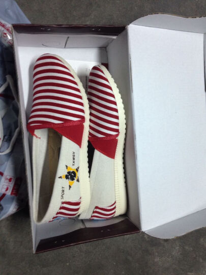 泰和源  春夏季新款帆布鞋女低帮 学生韩版时尚平底透气懒人休闲鞋 红色 31986 38偏小一码 晒单图