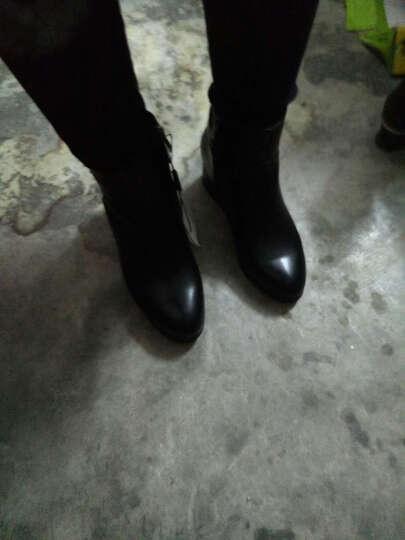 莱卡金顿2017秋冬新款 女靴 马丁靴女 (加绒百搭)踝靴 短靴女 加绒百搭 靴子女 黑色 36 晒单图