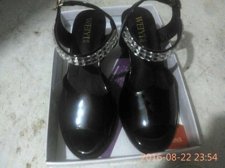 唯漪 粗跟中跟水钻鱼嘴女凉鞋子DM59XSx4rO 黑色 37 晒单图