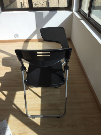 质凡 培训椅带写字板 桌板椅 便携折叠椅 麻将椅 会议椅 塑料椅子 靠背成人 灰色带写字板网兜 晒单图