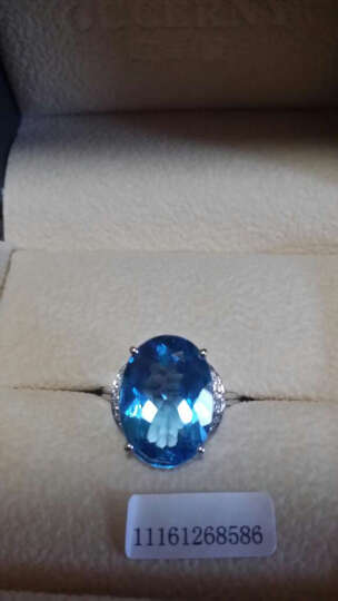 欧采妮 16克拉托帕石戒指戒面 18k金镶嵌钻石指环 宝石瑞士蓝 需定制可联系客服 晒单图