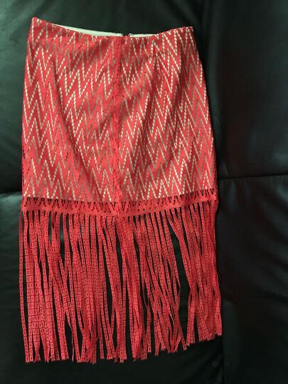 ochirly欧时力新女装蕾丝拼接流苏中腰短款包臀裙半裙1HY2074990 黑色090 L(170/74A) 晒单图