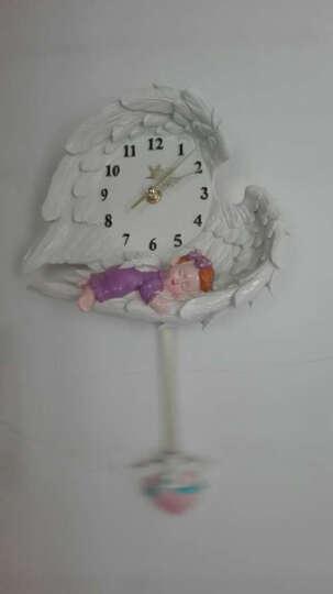 时尚客厅静音挂钟 时尚简约手工树脂浮雕可爱天使宝宝时钟 创意卧室钟表包邮 女孩小号宽25 总高28cm 晒单图