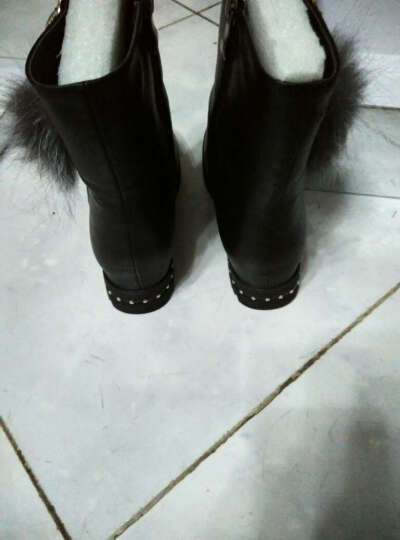 口口坊雪地靴女2016冬季新款加绒短靴韩版内增高女靴圆头平底靴子短筒棉鞋大码女鞋 M6D650黑色 37 晒单图