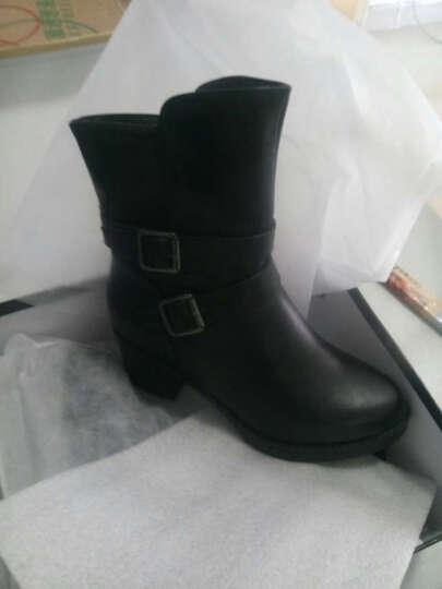 莱卡金顿女靴子 女短靴冬季新款坡跟粗跟马丁靴 黑色正码 36 晒单图