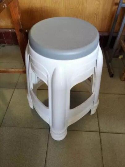塑料凳子简约现代彩色椅子餐桌椅凳子大排档钢化圆凳子 咖啡色 晒单图