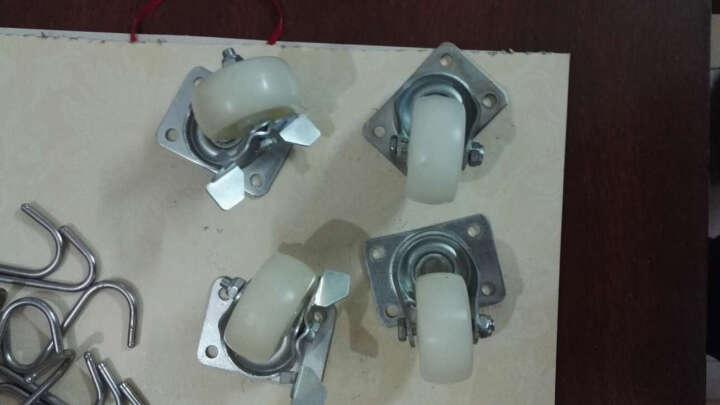 美诗隆(MEISHILONG)尼龙耐磨静音家具脚轮万向轮乳白平板1.5寸/2寸带刹可选 2寸带制 晒单图