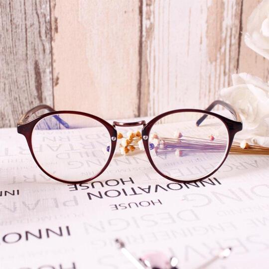 音米(INMIX)眼镜架女复古圆形眼镜框tr超轻框架可配近视光学眼镜韩版潮人眼镜女  2197 棕色+送1.56防蓝光镜片 晒单图
