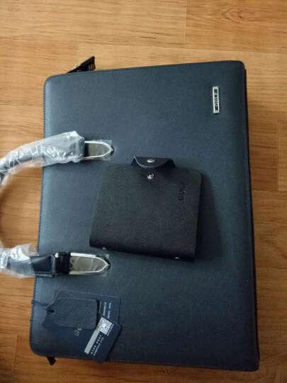 高尔夫GOLF男士公文包 牛皮商务手提包单肩包大容量男包 休闲电脑包 简约商务黑色1962 晒单图