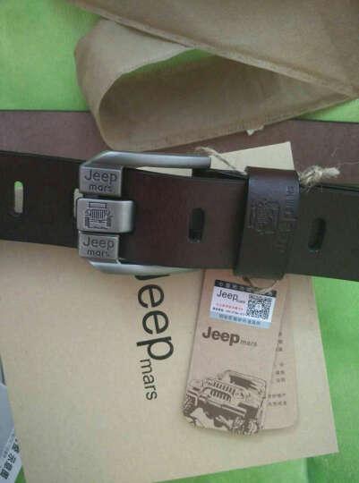 JEEP MARS皮带男士腰带真皮裤腰带针扣牛皮皮带2018新款 SJ-08黑色 晒单图