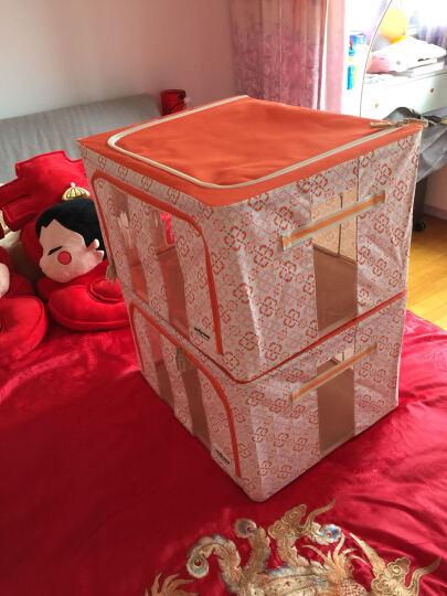 百草园(bicoy)牛津布衣服收纳箱 衣物整理箱储物箱大号56L 3枚装 橘色 晒单图