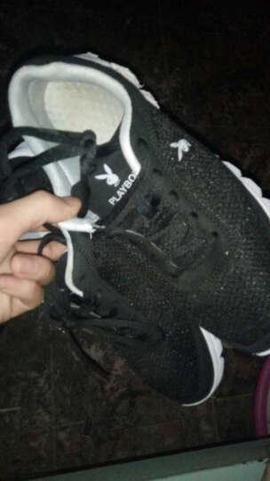 花花公子运动鞋子男春季韩版透气网面休闲跑步鞋 黑色 42 晒单图